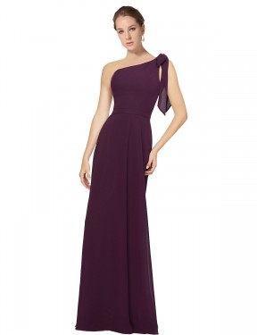 A-Line One Shoulder Floor Length Long Grape Chiffon Rose Bridesmaid Dress for Sale