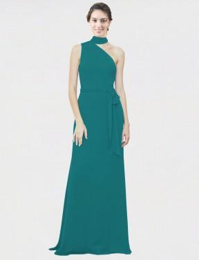 A-Line One Shoulder Floor Length Long Hunter Chiffon Crystal Bridesmaid Dress for Sale