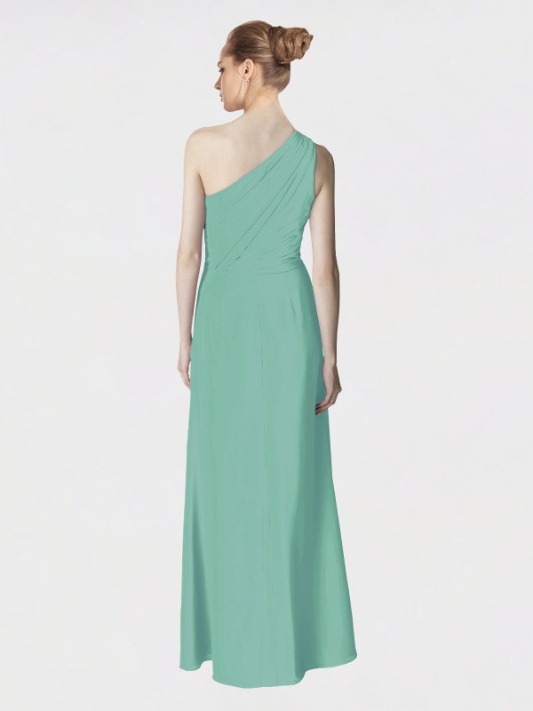 A-Line One Shoulder Floor Length Long Jade Chiffon Aurora Bridesmaid Dress for Sale
