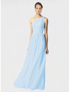 A-Line One Shoulder Floor Length Long Light Sky Blue Chiffon Amalia Bridesmaid Dress for Sale