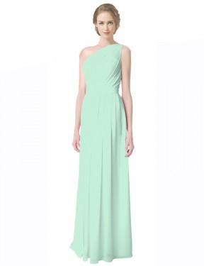 A-Line One Shoulder Floor Length Long Mint Green Chiffon Novalee Bridesmaid Dress for Sale