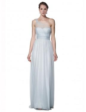 A-Line One Shoulder Floor Length Long Mist Tulle Legacy Bridesmaid Dress for Sale