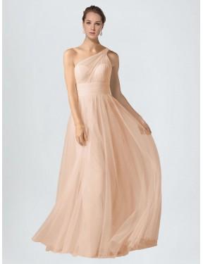 A-Line One Shoulder Floor Length Long Nude Tulle Saige Bridesmaid Dress for Sale