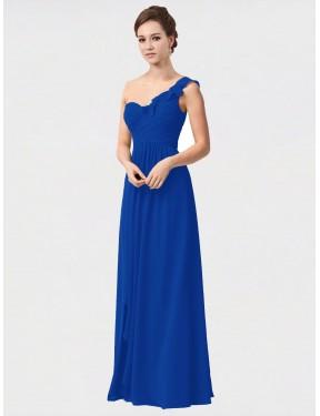A-Line One Shoulder Floor Length Long Royal Blue Chiffon Anika Bridesmaid Dress for Sale