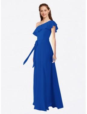 A-Line One Shoulder Floor Length Long Royal Blue Chiffon Kyrene Bridesmaid Dress for Sale