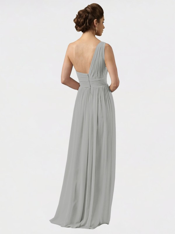 A-Line One Shoulder Floor Length Long Silver Chiffon Harlee Bridesmaid Dress for Sale