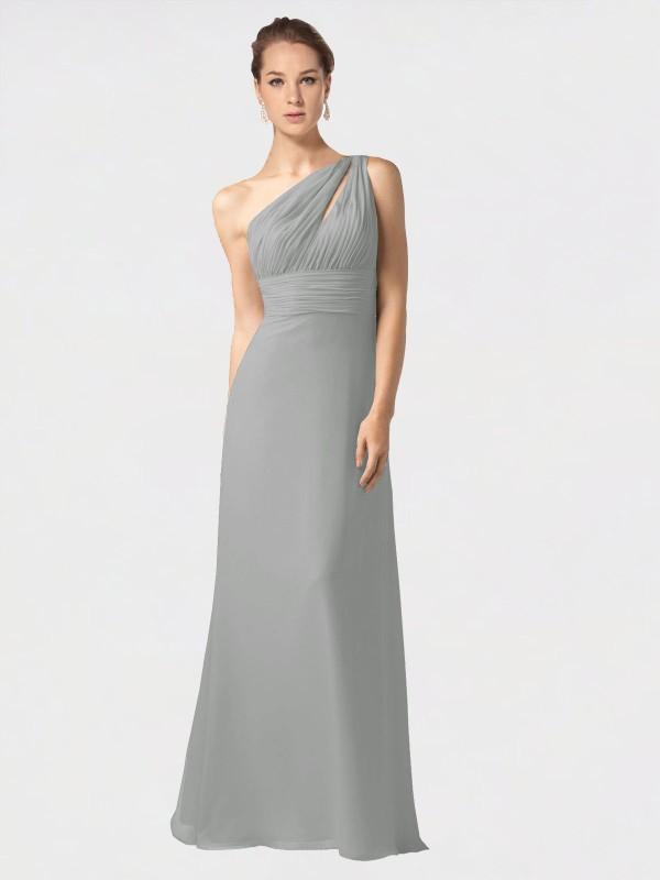 A-Line One Shoulder Floor Length Long Silver Chiffon Jamie Bridesmaid Dress for Sale