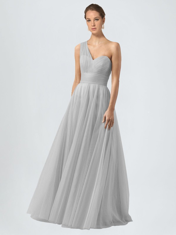A-Line One Shoulder Floor Length Long Silver Tulle Anahi Bridesmaid Dress for Sale