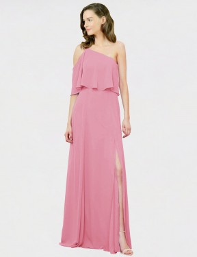 A-Line One Shoulder Floor Length Long Skin Pink Chiffon Charly Bridesmaid Dress for Sale