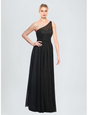 A-Line One Shoulder Floor Length Long Tulle Tess Bridesmaid Dress for Sale