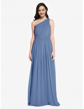 A-Line One Shoulder Floor Length Long Windsor Blue Chiffon Orlando Bridesmaid Dress for Sale