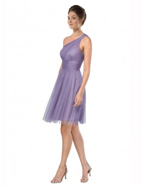 A-Line One Shoulder Knee Length Short Watermelon Tulle Alessia Bridesmaid Dress for Sale