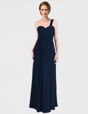 A-Line One Shoulder Sweetheart Floor Length Long Dark Navy Chiffon Hadleigh Bridesmaid Dress for Sale