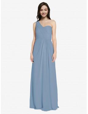 A-Line One Shoulder Sweetheart Floor Length Long Dusty Blue Chiffon Ida Bridesmaid Dress for Sale