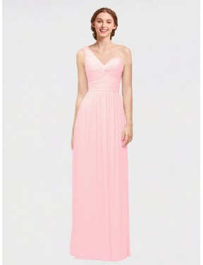 A-Line One Shoulder Sweetheart Floor Length Long Pink Chiffon Angie Bridesmaid Dress for Sale
