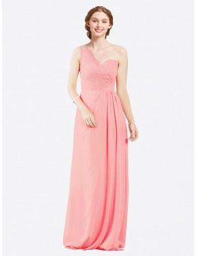 A-Line One Shoulder Sweetheart Floor Length Long Salmon Chiffon Harper Bridesmaid Dress for Sale