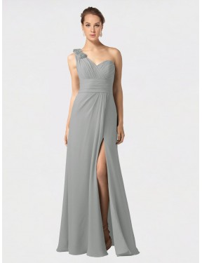 A-Line One Shoulder Sweetheart Floor Length Long Silver Chiffon Melina Bridesmaid Dress for Sale