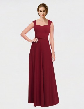 A-Line Queen Anne Strapless Floor Length Long Burgundy Stretch Crepe Selene Bridesmaid Dress for Sale
