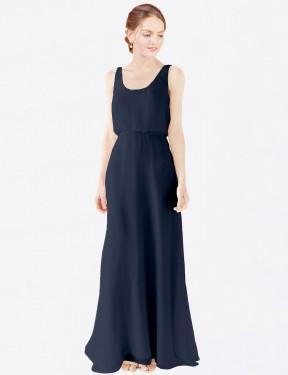 A-Line Scoop Floor Length Long Dark Navy Chiffon Evelyn Bridesmaid Dress for Sale