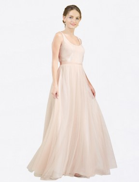 A-Line Scoop Floor Length Long Pink Tulle Lily Bridesmaid Dress for Sale