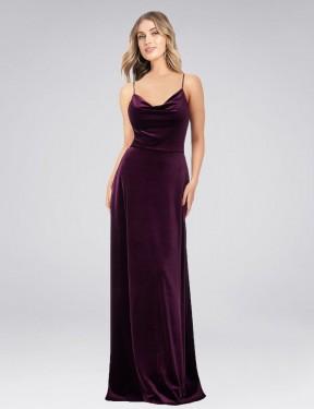 A-Line Scoop V-neck Floor Length Long Stretch Velvet Yvette Bridesmaid Dress for Sale