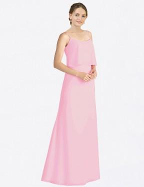A-Line Spaghetti Straps Floor Length Long Barely Pink Chiffon Kaylin Bridesmaid Dress for Sale