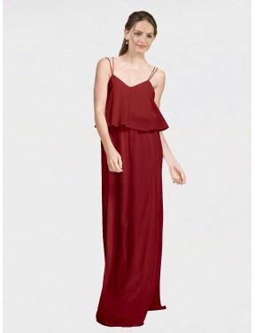A-Line Spaghetti Straps Floor Length Long Burgundy Chiffon Mackenzie Bridesmaid Dress for Sale