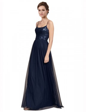 A-Line Spaghetti Straps Floor Length Long Dark Navy Tulle & Lace Julissa Bridesmaid Dress for Sale