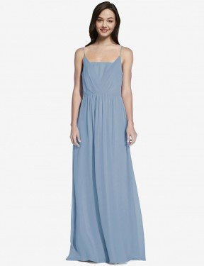 A-Line Spaghetti straps Floor Length Long Dusty Blue Chiffon Owen Bridesmaid Dress for Sale
