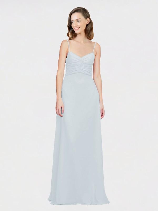 A-Line Spaghetti Straps Floor Length Long Frost Chiffon Laleh Bridesmaid Dress for Sale