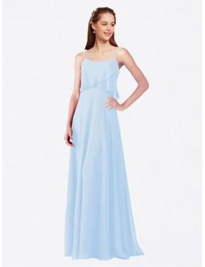 A-Line Spaghetti Straps Floor Length Long Light Sky Blue Chiffon Catie Bridesmaid Dress for Sale
