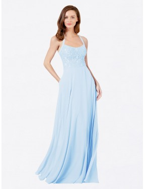 A-Line Spaghetti Straps Floor Length Long Light Sky Blue Chiffon & Lace Helma Bridesmaid Dress for Sale