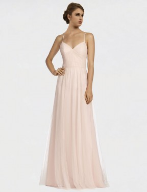 A-Line Spaghetti Straps Floor Length Long Pink Tulle Jayde Bridesmaid Dress for Sale
