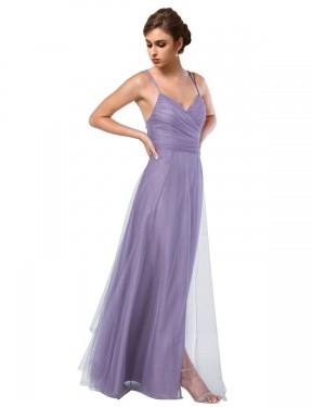 A-Line Spaghetti Straps Floor Length Long Purple Tulle Rebekah Bridesmaid Dress for Sale