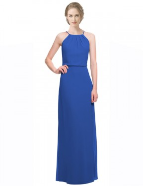 A-Line Spaghetti Straps Floor Length Long Royal Blue Chiffon Nancy Bridesmaid Dress for Sale