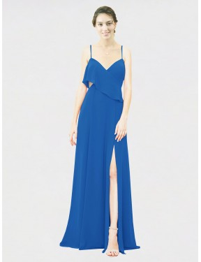 A-Line Spaghetti Straps Floor Length Long Royalty Chiffon Karly Bridesmaid Dress for Sale
