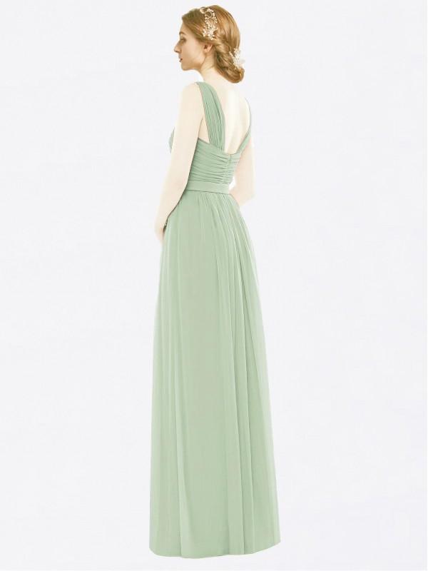 A-Line Spaghetti Straps Floor Length Long Sage Chiffon Maliyah Bridesmaid Dress for Sale