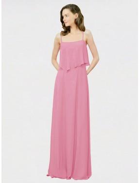 A-Line Spaghetti Straps Floor Length Long Skin Pink Chiffon Lyndsey Bridesmaid Dress for Sale
