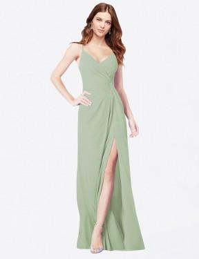 A-Line Spaghetti Straps Floor Length Long Smoke Green Chiffon Bradi Bridesmaid Dress for Sale
