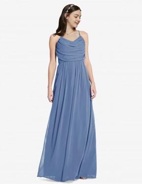 A-Line Spaghetti straps Floor Length Long Windsor Blue Chiffon Jasper Bridesmaid Dress for Sale