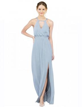 A-Line Spaghetti Straps Halter Floor Length Long Light Sky Blue Chiffon Keyla Bridesmaid Dress for Sale