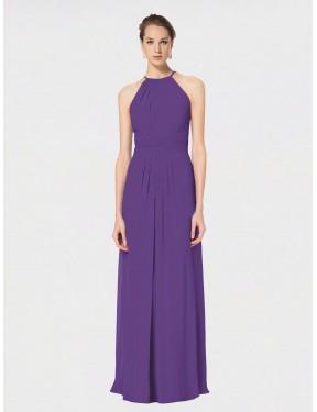 A-Line Spaghetti Straps Halter Floor Length Long Plum Purple Chiffon Ariana Bridesmaid Dress for Sale