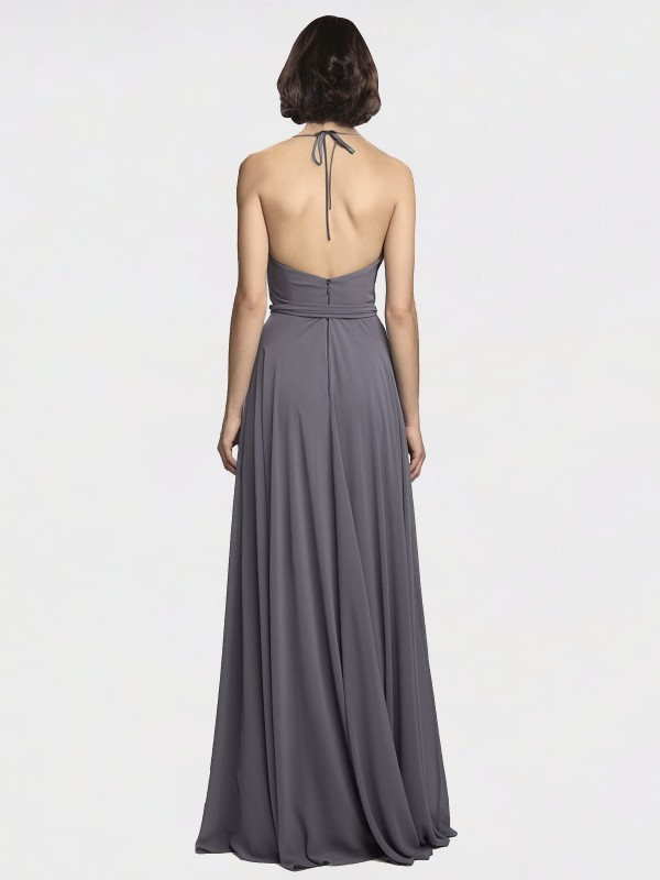 A-Line Spaghetti Straps Halter Floor Length Long Slate Grey Chiffon Jolie Bridesmaid Dress for Sale