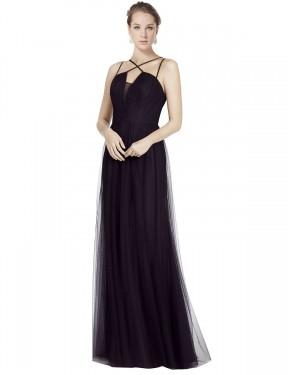 A-Line Spaghetti Straps High Neck Floor Length Long Black Tulle Aileen Bridesmaid Dress for Sale