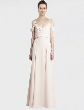 A-Line Spaghetti Straps Off the Shoulder Floor Length Long Cream Pink Chiffon Iona Bridesmaid Dress for Sale