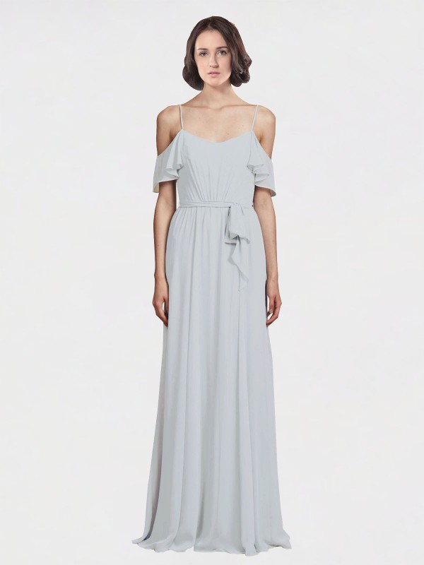 A-Line Spaghetti Straps Off the Shoulder Floor Length Long Frost Chiffon Tiana Bridesmaid Dress for Sale