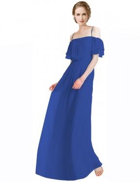 A-Line Spaghetti Straps Off the Shoulder Floor Length Long Royal Blue Chiffon Gwen Bridesmaid Dress for Sale