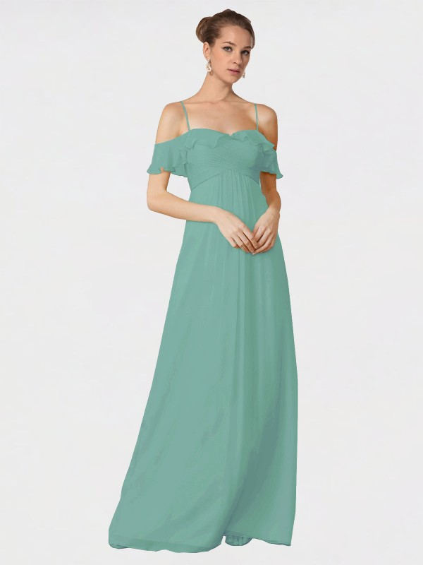A-Line Spaghetti Straps Off the Shoulder Floor Length Long Seaside Chiffon Courtney Bridesmaid Dress for Sale