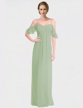 A-Line Spaghetti Straps Off the Shoulder Floor Length Long Smoke Green Chiffon Alisha Bridesmaid Dress for Sale