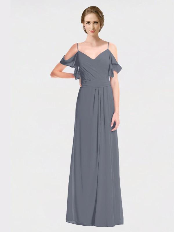 A-Line Spaghetti Straps Off The Shoulder V-Neck Floor Length Long Slate Grey Chiffon Danica Bridesmaid Dress for Sale